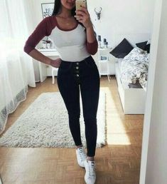 Keys to the Perfect - 112 Women's White Sneakers Outfit Idea - Teenage Outfits, Cute Outfits For School, College Outfits, Outfits For Teens, Trendy Outfits, Fall Outfits, Outfit Winter, Look Fashion, Teen Fashion