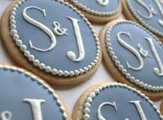 Love these cookies for wedding shower or engagement party Wedding Shower Cookies, Bridal Shower Favors, Wedding Favours, Wedding Ideas, Bridal Showers, Wedding Desserts, Trendy Wedding, Monogram Cookies, Cute Cookies