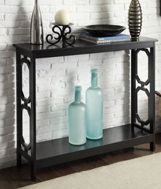 Lachlan Glossy Black Sofa Table by I Love Living Sofas Black