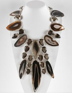 Necklace | Charles Albert.  Sterling silver, smokey agate.  http://www.charlesalbertlookbook.com/necklaces.html