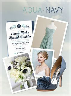 Aqua & Navy #Wedding #InspirationBoard