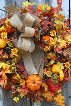 Fall Wreath, Burlap Ribbon, Pumpkins, Gourds, Sunflowers, Fall Leaves, via Etsy.