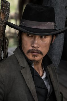 Byung-Hun Lee The Magnificent Seven ( 2016 ) Hollywood Actor, Hollywood Stars, Magnificent Seven 2016, Jaguar, Actor Chris Pratt, Lee Byung Hun, Mustache Styles, Tv Westerns, Western Movies