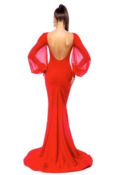 Occasional Ana Radu red dress with veil sleeves, mermaid dress, bare back, large sleeves, veil sleeves, long sleeves, tented cut