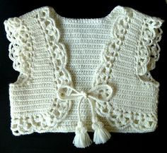 Diy Crafts - Ravelry: Project Gallery for Pretty Popcorn Vest pattern by Shelby Allaho Crochet Baby Sweaters, Crochet Baby Cardigan, Baby Girl Crochet, Crochet Baby Clothes, Crochet Jacket, Crochet For Kids, Knit Crochet, Crochet Shrugs, Bolero Pattern