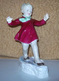 Vintage F  Doughty Royal Worcester #3452 months of the year JANUARY boy sliding on ice figurine by collectaholics on Etsy