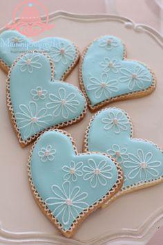ブルーのハートのアイシングクッキー   シュガークラフトとケーキデコレーション・アイシングクッキーsugarmammyのブログ