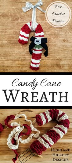 Candy Cane Wreath - Highland Hickory Designs - Free Crochet Pattern Crochet the Candy Cane Wreath with this easy and free pattern! It's great for Christmas decorating or gift giving. Perfect home or office holiday decor. Knitted Christmas Decorations, Crochet Christmas Wreath, Crochet Wreath, Christmas Crochet Patterns, Holiday Crochet, Christmas Knitting, Christmas Wreaths, Christmas Crafts, Christmas Ornaments