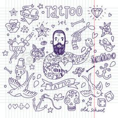 Tattoo vector set Cartoon tattoo elements in funny style anchor, dagger, skull, flower, star, heart, dices, bone, diamond, scull, pistol and cool bearded man Doodle in exercise book style