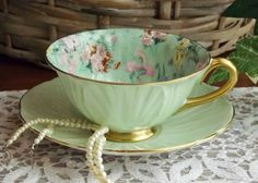 Shelley Melody Chintz Teacup and Saucer Mint/Seafoam Green by NostalgicRose, $115.00