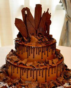 Dallas Skyline Grooms Cake by Fancy Cakes by Lauren