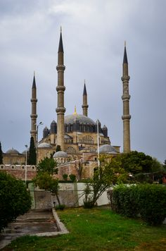 Edirne Selimiye Mosque in a rainy day with cloudy sky - TURKEY