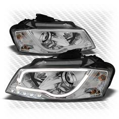 For 09-13 Audi A3/Quattro Day Running Light-Tube-DRL Projector Headlights w/LED