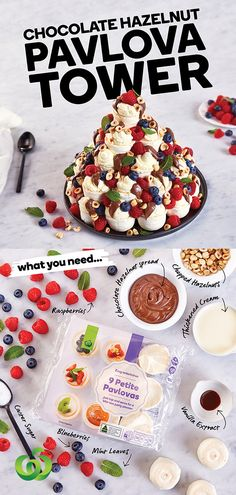 Quick and easy Holiday Pavlova. How to make a show-stopping Chocolate Hazelnut Pavlova Tower in four simple steps! Mini Pavlova, Strawberry Pavlova, Köstliche Desserts, Delicious Desserts, Dessert Recipes, Yummy Food, Xmas Recipes, Plated Desserts, Cake