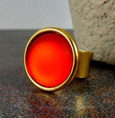Statement Ring, Red, Gold, Stone Ring, Circle Ring, Adjustable, Matte Ring, Round Ring, Gold Ring, Big Ring, Iridescent Ring, Glow Ring by Pilboxx on Etsy