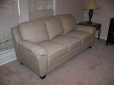 BEAUTIFUL Modern Contemporary Bone / Beige Leather Sofa / Couch !! - $499 (Sugar Land)