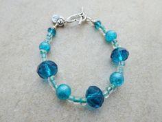 Aqua and Blue Beaded Girls Bracelet by MadeInTheFalls on Etsy