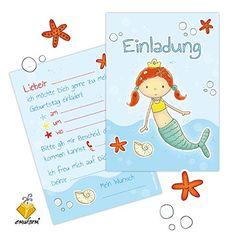 """10 Einladungen zum Kindergeburtstag """"Meerjungfrau Malin"""""""