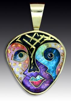 Ricky Frank - JEWELLERY ARTIST of this FABULOUS PIECE OF ART! Pendant feat. a face in enamel- GORGEOUS<3<3<3