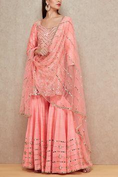 Pink mirrored sharara set Abhinav Mishra Designers is part of Sharara designs - Party Wear Indian Dresses, Indian Fashion Dresses, Designer Party Wear Dresses, Pakistani Dresses Casual, Dress Indian Style, Pakistani Bridal Dresses, Pakistani Dress Design, Indian Designer Outfits, Indian Wedding Outfits