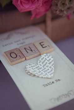 Table numbers using scrabble letters. Love this wedding! Lots of good inspiration @Jennif