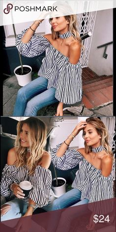 NWT Off The Shoulder Loose Long Top Blouse+Choker Off The Shoulder Casual Loose Long Top Blouse+Choker. Material: Cotton Blend, Color: Black+White.  NWT!! Tops