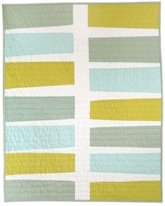 """minimal baby quilt"" I'd probably do this with loud prints, but the spaciousness of the white is terrific and soothing."
