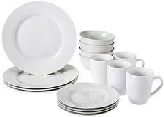 Kitchen Dinnerware Set Plates Bowls Mugs Service for 4 White - Dinnerware - Ideas of Dinnerware Dinnerware Sets Walmart, Dinnerware Sets For 12, Square Dinnerware Set, White Dinnerware, Porcelain Dinnerware, Dinnerware Ideas, Dessert Dishes, Dessert For Dinner, Serving Dishes