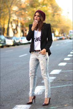Ciclo Longo Seja boca de sino, skny, colorida ou de uma cor a calça jeans sempre presente. MODA - CALÇA JEANS DESTROYED - Juliana Parisi - Blog