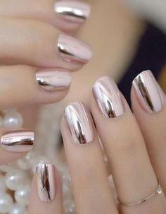 Black Gold Nails Mirror Silver False Nails - Brand Name: EchiQ Material: Acrylic Application: Finger Type: Full Nail Tips Model Number: metallic nails Size: mirror nails Quantity: 24 Nail Length: medium Nail Width: medium Item Type: False Nail Crome Nails, Nail Store, Acrylic Nail Tips, Nagellack Design, Mirror Nails, Pink Mirror, Metallic Nails, Pink Chrome Nails, Chrome Nail Colors