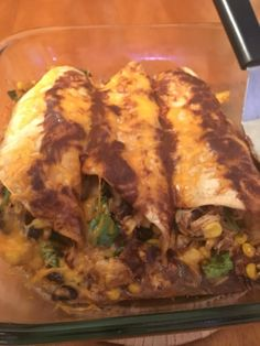 Made more homemade enchiladas with corn,black beans, and spinach. February 21st.