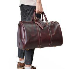 3fc6323720 Genuine Leather Mens Cool Weekender Bag Travel Bag Duffle Bags Overnig –  iwalletsmen Mens Overnight Bag