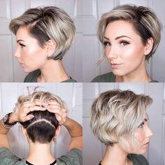 coupe et coiffure 2018 femme - cheveux courts sur le côté nuque rasée #hairstyles