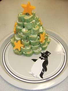 Pinwheel Appetizer Christmas tree with cheddar cheese stars