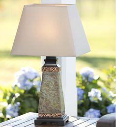 Weatherproof Slate Outdoor Table Lamp   Outdoor Lighting