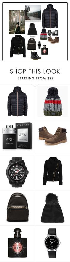"""""""Couple cool beanies"""" by melda-uno ❤ liked on Polyvore featuring Moncler, Barts, Bulgari, Timex, Versace, STELLA McCARTNEY, Topshop, Yves Saint Laurent, Mestige and Dr. Martens"""