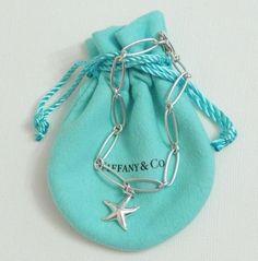 54815415f Tiffany & Co Elsa Peretti Silver Starfish Oval Link Charm Bracelet with  Pouch #TiffanyCo