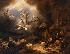 sheppards in bible art | Angels Announcing the Birth of Christ to the Shepherds FLINCK (1639)