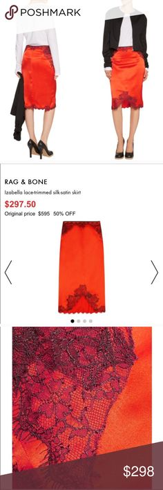 SALE💎Rag & Bone Silk Lace Satin Pencil Skirt Rag & Bone Silk Lace Satin Pencil Skirt sold like new rag & bone Skirts Pencil