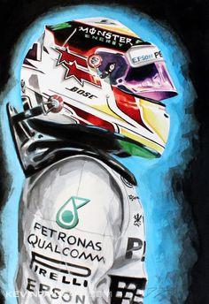 2015 #F1 Pilot: Lewis Hamilton by KevinPaigeArt.com