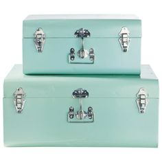 Ensemble of Two Suitcases in Mint Green ~ Masons Du Monde