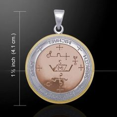 """- Sigil of the Archangel Michael Angelic Talisman Pendant - .925 Sterling Silver Amulet - This item is 1 1/4"""" inches (3 cm) in diameter. The picture shows 1 5/8"""", which is the height including the bai"""