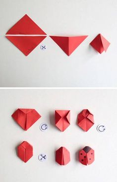 schaeresteipapier: Good luck with beetle and shamrock - Basteln - Origami Chat Origami, Origami Yoda, Origami Star Box, Origami Dragon, Origami Butterfly, Origami Stars, Origami Flowers, Origami Ladybug, Origami Gifts
