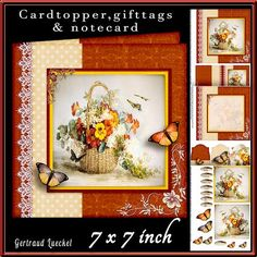 Cardtopper Red Pansy and white Aster 434 on Craftsuprint - View Now!