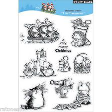 New Penny Black CHRISTMAS CRITTERS Clear Stamps Cat Mice Critters Hedgehog Puppy