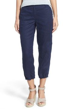 NWT Eileen Fisher Midnight Organic Linen Cargo Zip Ankle Pants Size Small #EileenFisher #Ankle