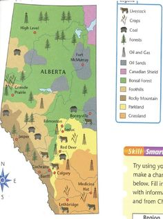 Alberta Grade 4 Social Studies 4.1 - Natural Resources - Map - (It would be great to know what textbook that came from.)