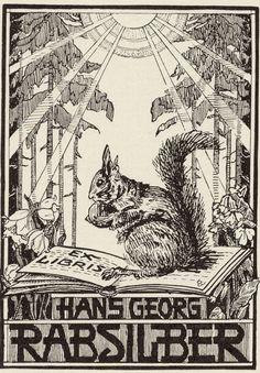 Art nouveau bookplate by German artist Elisabeth Voges (Brunswick) c.1920