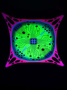 "2,5x2,5m Psywork Schwarzlicht Goa Segel Spandex ""Circuit Board""  #blacklight #schwarzlicht #neon #glow #psy #party #deco #spandex #stretch #effects"
