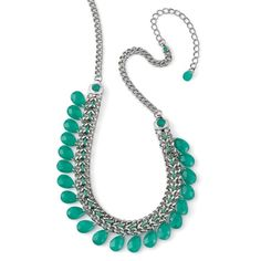 Meadow Statement Necklace Top off your favorite little black dress or flowy boho neutrals with this glimmering row of emerald green teardrops. A matching cord weaves through the silver tone chainmail necklace, punctuated with green rhinestones. Adjustable 17-20. New with tags and gift box. Jewelry Necklaces